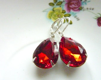 Ruby Red Earrings Teardrop Drop Vintage Estate Style Earrings July birthstone