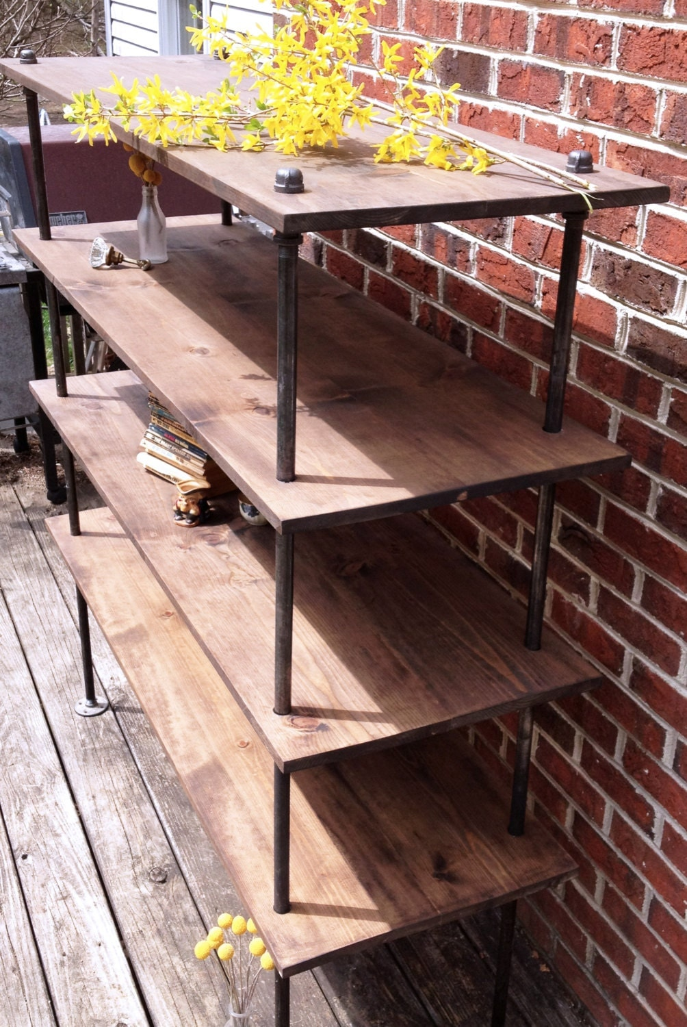 Free Standing Industrial Pipe Shelf Unit
