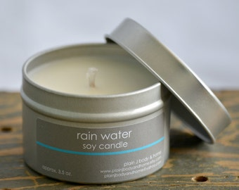 Rain Water Soy Candle Tin 4 oz. - musk soy candle - jasmine soy candle - musk jasmine blend - spring soy candle - fresh rain candle