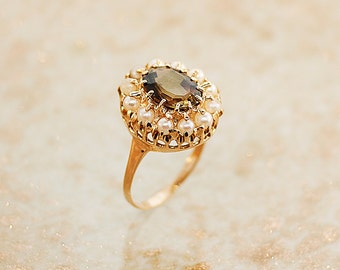 Andalusite Ring - Antique Rose Gold Ring with Adalusite and Pearls