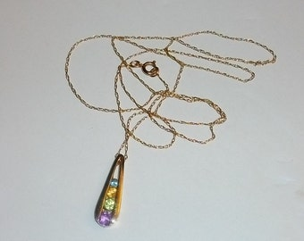 Vintage 10k Solid yellow gold multi color gems pendant chain Necklace