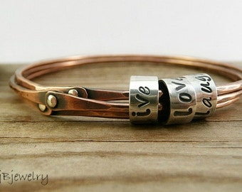Personalized Jewelry, Personalized Bangle, Copper Bangle, Mixed Metal Bangle, Personalized Gift, Custom Hand Stamped, Custom Bracelet