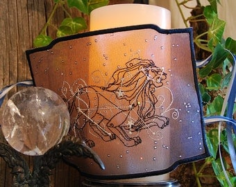 Signs of the Zodiac - Leo or the Sign of your Choice Embroidered Candle Wrap For LED Flameless Pillar Candles.