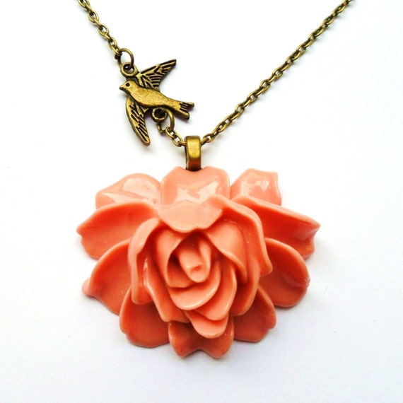 coral pink necklace coral flower necklace by roseultra