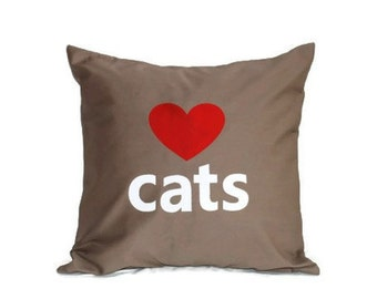 "18""x18""  'Love Cats'  Pillow COVER"