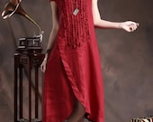 Ruffle Linen Dress in Red / Long linen sundress /Asymmetrical Red Kaftan / Maxi Dress /Loose Oversize Dress, XL,XXL custom A8011