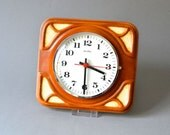 Vintage wall clock kitchen clock West German pottery ceramic brown ZenTra Mid-Century 60s 70s