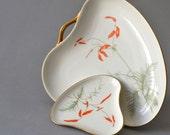 RESERVED Vintage West German bavarian pottery modern plate set floral painted Wunsiedel Bavaria porcelain