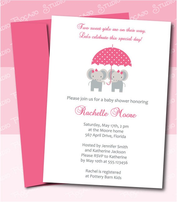 items similar to twin girls baby shower invitation - elephants,
