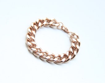 Rose Gold chunky chain Bracelet - 24k gold plated