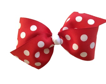 Red polka dot hair bow - red bow, red polka dot, toddler bow, girls bows, red hair bow