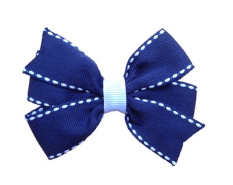 Navy blue hair bow - navy & white hair bow, 3 inch bows, pinwheel bows, girls hair bows, toddler bows, navy hair bows, hair bows, girls bows