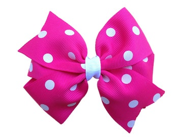 Hot pink polka dot hair bow - pink hair bow, 4 inch bows, pink bows, girls bows, toddler bows, polka dot bows, girls pink bows