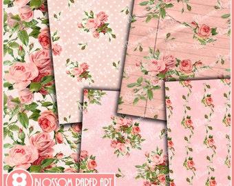 Digital Paper Pink Roses Digital Paper Pack, Digital Scrapbooking Pack, Decoupage, INSTANT DOWNLOAD - Printable - DIY - 1619