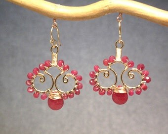 Hammered swirl drops with pink ruby Luxe Bijoux 91