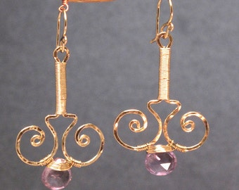 Hammered swirl drop earrings with choice of gemstone Nouveau 59