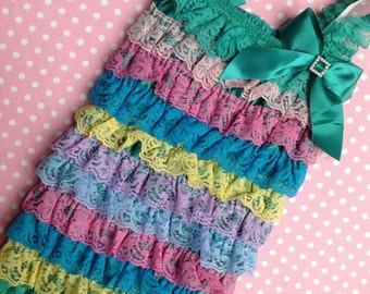 Multiple Color Petti Lace Ruffle Romper w Rhinestone Embellishment,  Infant Baby Toddler Birthday Outfit