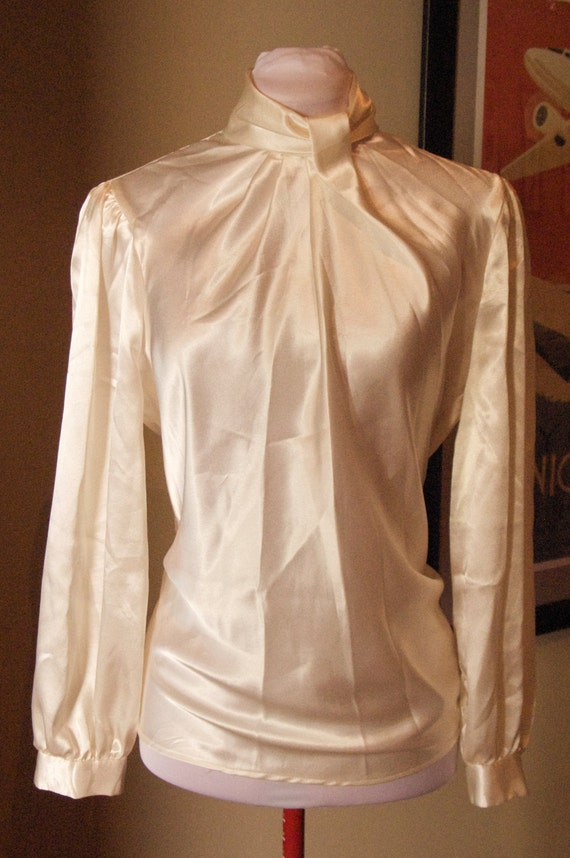 Vintage 1980s does 1930s Champagne Satin Blouse