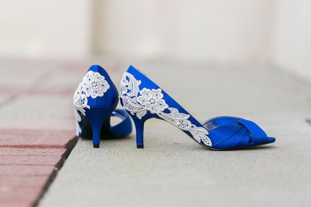SALE. Wedding Shoes Royal Blue Wedding Heels Blue Satin