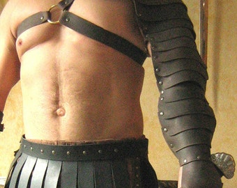 Medieval Gladiator Single Leather Arm Armor with Rings Fastenings