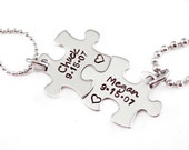Personalized Couple Puzzle Piece Set - Hand Stamped Jewelry - Personalized Anniversary Gift - Name and Date - Puzzle Jewelry Set - For Him