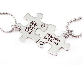 Personalized Couple Puzzle Piece Set - Engraved Jewelry - Personalized Anniversary Gift - Name and Date - Puzzle Jewelry Set - For Him
