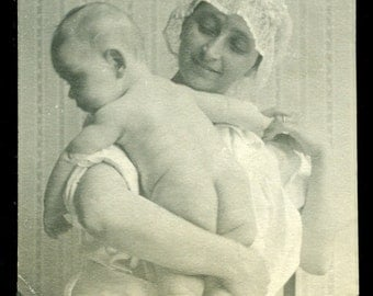 Sweet Mother & Baby Bare Bottom Vintage Photo Black and White Antique Photograph