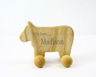 PERSONALIZED / Laser Engraved /  Wooden Animal / Eco-Friendly / Rolling Baby Toy for Babies and Toddlers