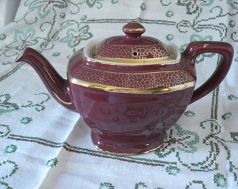 "Hall Tea Pot ""Hollywood"" 0113  Maroon with Gold Embellishments, California Pottery, Mid Century,Dining Table, Table Decor, Tea Party"