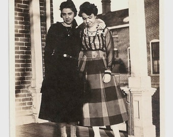 Old Photo 2 Women wearing Dresses Black Plaid White Boots 1920s Photograph snapshot vintage
