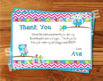 thank you cards owl  etsy nz, Birthday card