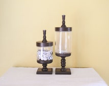Custom Apothecary Jar / Glass Candy Jar on Pedestal Set of 2