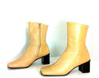 Minimal Leather Ankle Boots 8 - Camel Leather Chunk Heel Boots 8 -Etienne Aigner