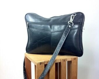 Large Black Leather Messenger Bag - Cross Body Laptop Bag - Leather Briefcase Bag