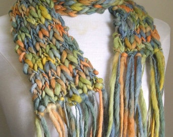 Clarissa Scarf - Chunky Wool - Long Skinny Scarf - Orange, Yellow, Green and Teal