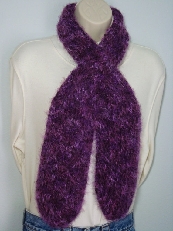 Hand knit- Loom Knitted  Pull Through Scarf - Purple