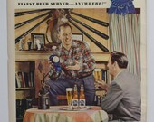 1950 Vtg Pabst Blue Ribbon Beer Ad