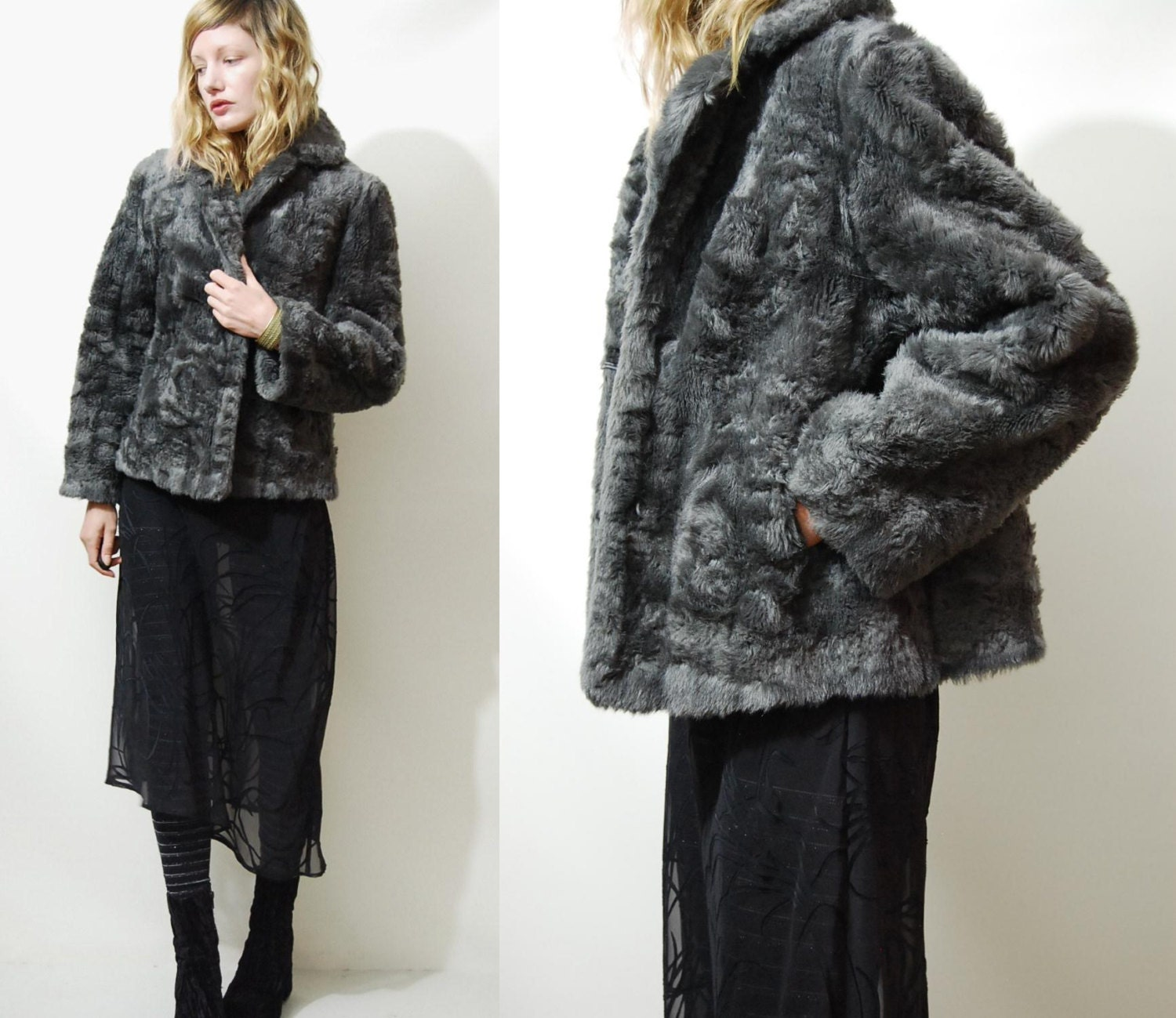 70s Vintage Faux Fur Jacket Coat Dark Grey Vtg 1970s Bohemian