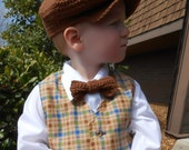 Brown Newsboy cap and bow tie, organic baby hat and tie, baby boy photo prop birthday wedding special occasion, 6 to 24 months