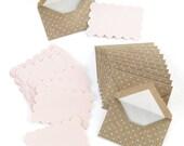 Set of 6 Mini Cards and Polka Dot Kraft Envelopes