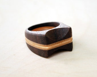 Wood Ring - Walnut and Birch Ring - Wooden Ring