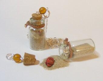 Jar of Dirt Necklace, Miniature Bottle Necklace, Miniature Bottle Pendant, Wish Bottle, Miniature Food Jewelry, Mini Bottle, Pirate Jewelry