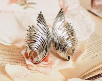 Vintage Silver Earrings By Lisner, Screw Back Earrings, Gifts Under 15