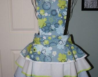 Lime and pale blue retro apron