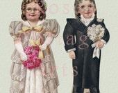 Digital Download Antique Die Cut 'Parents of the Groom' Wedding Paper Dolls Victorian Scrap Graphic Image