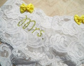 Customize YOUR Mrs. Booty Bow Panty Stretch Lace Something Blue Wedding LIngerie in Custom and PLus Sizes