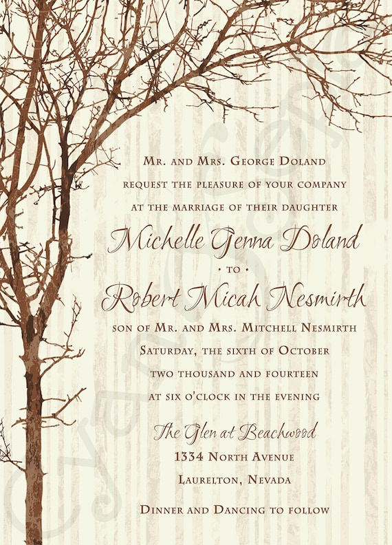 Printable wedding invitation 5x7 tree and by cyanandsepia for Free printable tree wedding invitations