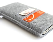 iPhone 6S Sleeve/ iPhone 6s Plus Case/ iPhone 4/4S/5/5S/5C Sleeve/ Samsung/ Nexus/ HTC/ One+One- Minimalist -All Light Grey- Front Pocket