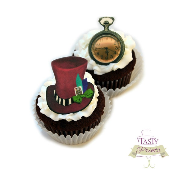 Edible Mad Hatter decorations - 12 count - Tea Party Cupcake Topper and Cake decorations