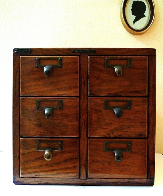 Reserved library bureau card catalog file oak cabinet with for Bureau hardware